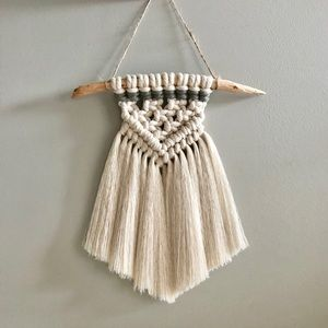 handmade mini macrame wall hanging